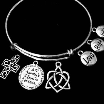 Celtic Heart Families Love is Forever Cross Adjustable Bracelet Expandable Silver Charm Bangle Trendy Gift Love Hope Believe Inspirational Bracelet