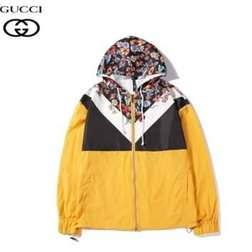GUCCI Fashion New Floral Leaf Print Contrast Color Women Men Hooded Long Sleeve Windbreaker Yellow