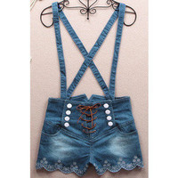 new — 061401 Retro double-breasted high waist denim overalls