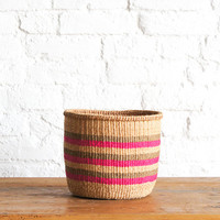 SILEVIYA pink striped basket