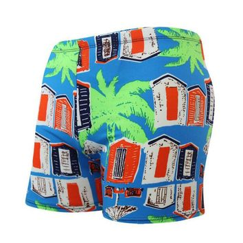 Coconut Tree Print Men Male Swim Pool Sport Bathing Suit Swimwear Swimming Pants Boxer Shorts Beach Trunks Briefs Swimsuit Wear