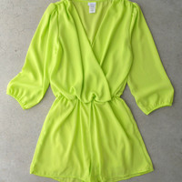 Coronado Romper in Chartreuse [5582] - $36.00 : Vintage Inspired Clothing & Affordable Dresses, deloom | Modern. Vintage. Crafted.