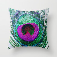 Peacock Bright Throw Pillow by Ally Coxon