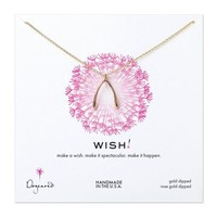 big wishbone necklace, rose gold dipped