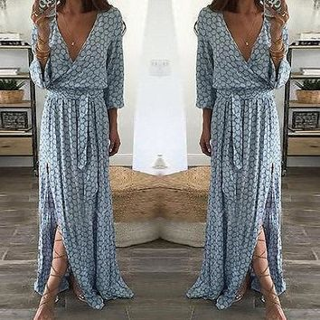Women Dress Lady Summer Deep V Neck Party Long Maxi Dress Women Ladies Clothing Floral Print Long Sleeve Boho
