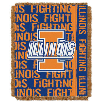 Illinois Fighting Illini NCAA Triple Woven Jacquard Throw (Double Play Series) (48x60)