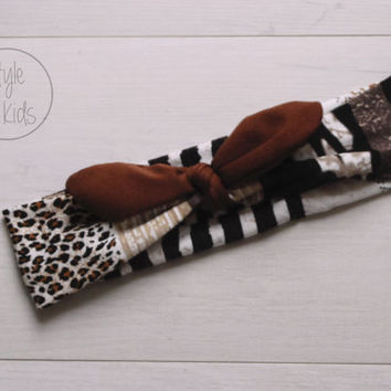 Safari Print Top Knot Headband with Brown Bow Headband Knot Toddler Headband Head Wrap Baby Bow Headband Newborn Knot Headband