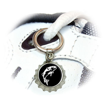 Fish Bass Jumping Shoe Bottlecap Charm