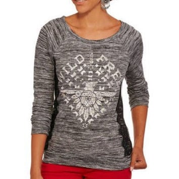 No Boundaries Juniors' Graphic Lace Trim Tunic Pullover Sweater, XLarge, Black