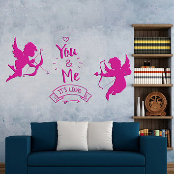"Happy Valentines Day Wall Decal, Cupid Angels Wall Sticker, Valentine's Day Wall Decor, Love Day ""You and Me"" Quote Wall Art Mural  se104"