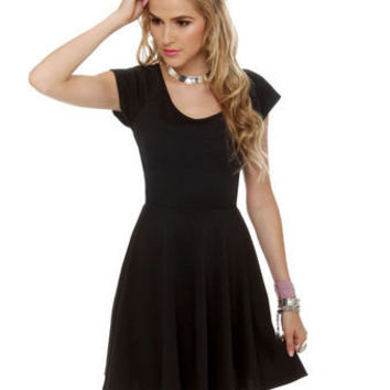 Cute Black Dress - Short Sleeve Dress - $36.00