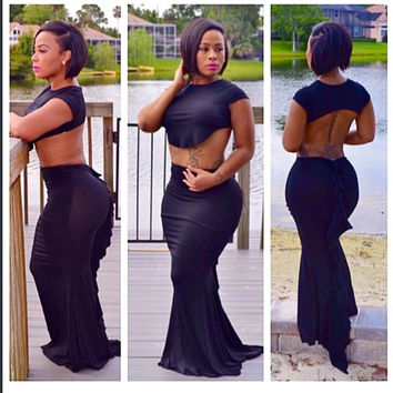 Black Cap Sleeve Cropped Top and Fishtail Maxi Skirt