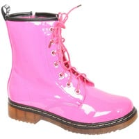 Tia Lace Up Patent Ankle Boot in Pink
