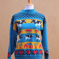 Vtg 80's Multicolored Sweater Women's Medium kitsch Cows Watermelon Houses Checkerboard Jumper Amazing Bold