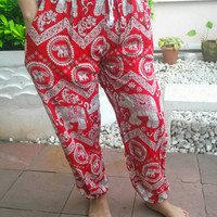 Red Yoga Pants Elephant Harem Beggy Printed Casual Aladdin Native Hippie Massage Rayon pants Gypsy Thai Hippy Women Exotic Clothing Exercise