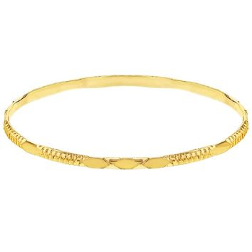 Gold Tone Classic Groove Stackable Bangle Bracelet Teens Girls