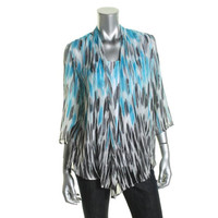 JM Collection Womens Petites Mixed Media Printed Casual Top