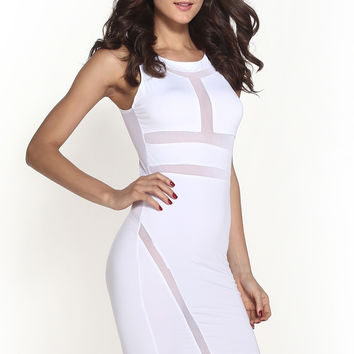White Mesh Bandage Mini Dress in O-Neckline