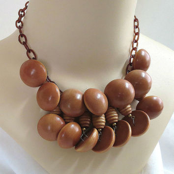 Vintage Wood Button Beads and Celluloid Chain Beaded Dangle BIB Necklace