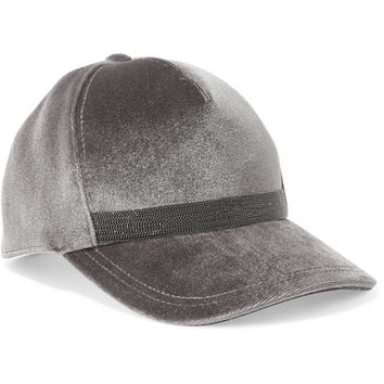 Brunello Cucinelli - Beaded velvet baseball cap