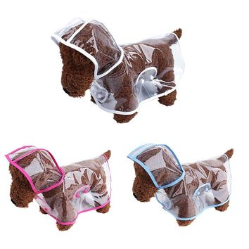 Transparentm Pet Raincoat PU Windproof Rainsuit Spring Summer Dog Clothes Hooded Waterproof Clothes Four Color Selectable
