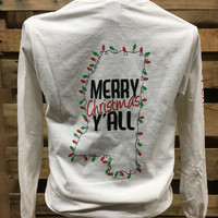 Southern Chics Merry Christmas Y'all Lights Long Sleeve Girlie Bright T Shirt