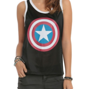 Marvel Captain America Shield Mesh Girls Tank Top