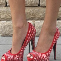 Red peeptoe shoes with sparkly gems (Jordan) from Chockers Shoes