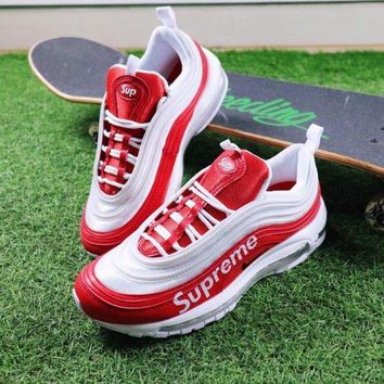 Best Online Sale Nike Air Max 97 x Supreme Red White Sport Running Shoes