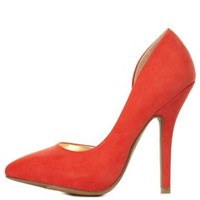 Orange Pointed Toe D'Orsay Pumps by Charlotte Russe