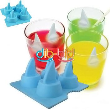 Drink Party Ice Tray Cool Shark Fin Shape Freeze Ice Cube Ice Mold Maker Mould