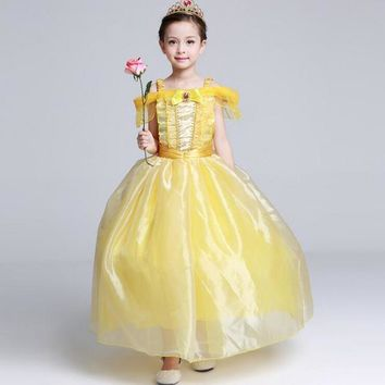 SAMGAMI BABY 2017 Kids Carnival Costume Halloween Princess Bell dresses Girls Dress Beauty and The Beast Ball Gown Cosplay Dress