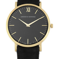 Larsson & Jennings - Läder gold-plated watch