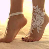 White Lace Barefoot Sandals, NudeShoes, Foot Jewelry,Beach Wedding ,Bridal Barefoot Sandals ,Bridesmaid Anklet