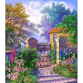 5D Diamond Painting Flowers by the Garden Gate Kit
