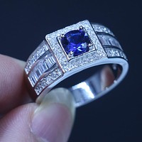 Fine Jewelry Genuine Soild 925 Sterling silver Wedding Band Rings for Men 1.5ct Blue AAAAA zircon cz male Party Finger Ring