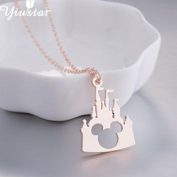 Yiustar New Lovely Mickey Bear Necklace for Children Kids Jewelry Cute Cartoon Stainless Steel Necklaces for Women Girls Gifts