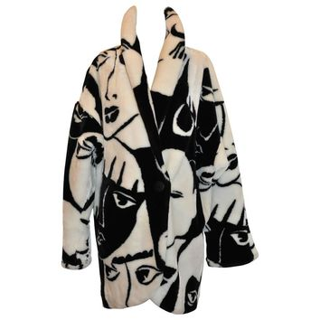 "DonnyBrook Bold Black & White Abstract ""Faces"" Faux Fur Car Coat"