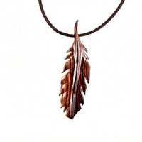 Feather Necklace, Feather Pendant, Wood Feather Necklace, Mens Necklace, Wooden Feather Pendant, Native American Inspired Mens Jewelry