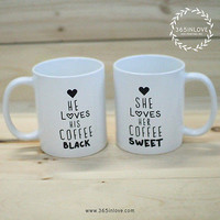 Black Coffee Matching Couple Mugs - His and Hers Matching Coffee Mug Cup