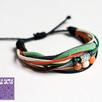 Handmade Retro Bracelet cord and bead by purplecactusdesign