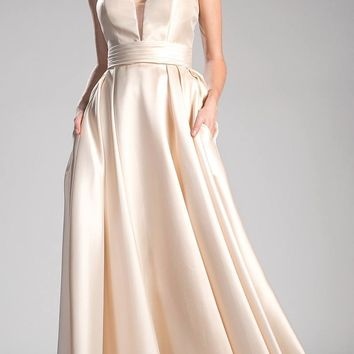 Strapless Ball Gown Prom Dress Empire Waist Lace Up Back Champagne
