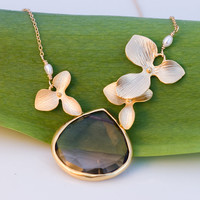 Large Smokey Quartz Drop Bezel Necklace - 16k Gold Orchid Flowers and 14k Gold Filled Chain