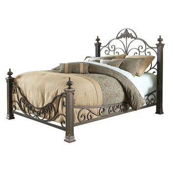 Queen Size Baroque Style Metal Bed With Headboard & Footboard