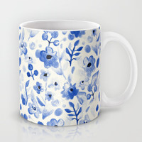 Blue China - Watercolor Floral Mug by Tangerine-Tane | Society6