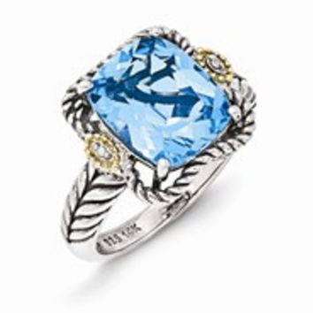 Sterling Silver w/14k Yellow Gold Antiqued Light Swiss Blue Topaz and Diamond Ring