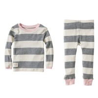 Burt's Bees Baby™ 2-Piece Organic Cotton Rugby Stripe Tee and Pant PJ Set in Pink
