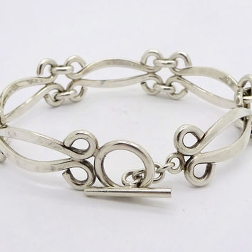 Taxco Mexico Sterling Silver Swirl Link Toggle Bracelet ATI