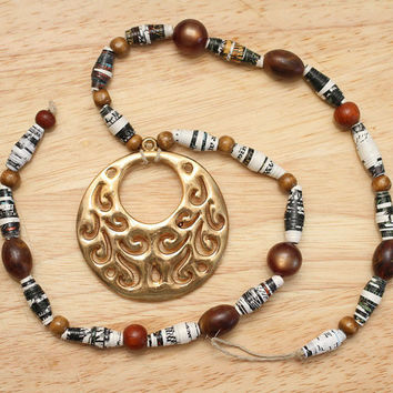 Recycled Paper Bead Necklace, Handmade with The Princess and the Swinherd Book Pages