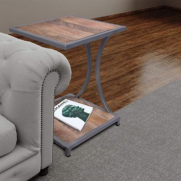 Plank Style Mango Wood End Table with Metal Framing and Open Shelf, Brown and Gray